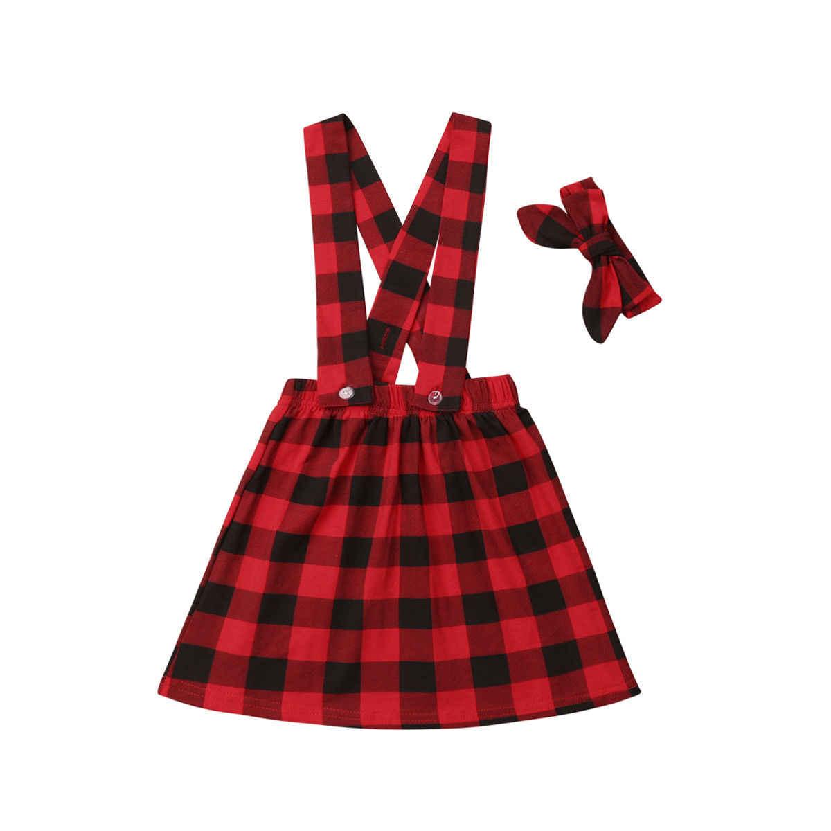 Bebé niños bebé chica tirantes falda + diadema mono más casuales de moda traje de algodón Plaid rojo de Navidad ropa