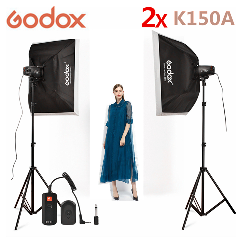 Godox K150A 2*150Ws Studio Flash Strobe Room Photo Studio Photography Lighting + Softbox + light stand + DC-04 flash Trigger Kit photo flash light photo studio flash jinbei studio flash 600w 3pieces photography light softbox studio set light bulb cd50
