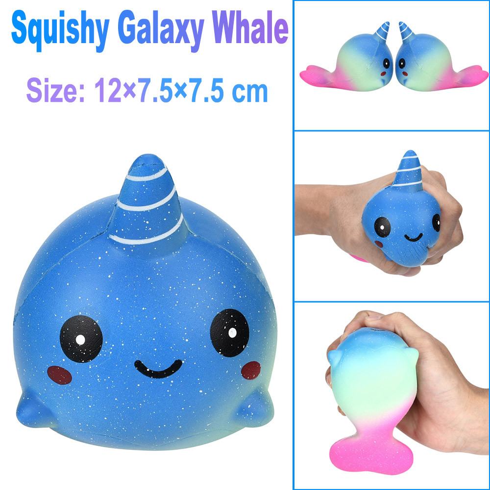 Exquisite extrusion Star whale Fun Big Whale Scented Squishy Charm Slow Rising 12cm Simulation Antistress Slime toys Anti stress