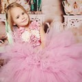 Pink Flower Girl Dresses Flowers Scoop Little girls Pageant Gown Puffy Ball Gown Wedding Party Dress 2017 FG13