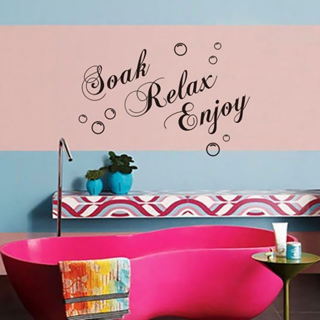 Soak Relax Enjoy English Vinyl Wall Stickers Home Decor Living Room ...
