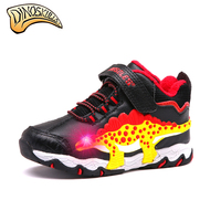 Dinoskulls Kids Boy Boots Children Winter Shoes Kids Warm Fleece Winter Shoes Led Light Up Shoes for Boys Snow Boots botas 27 34
