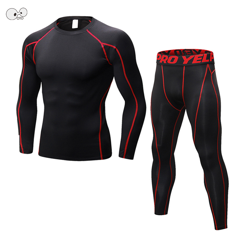 New Dry Fit Compression Tracksuit Fitness Tight Running Set Long Sleeve T-shirt + Leggin ...