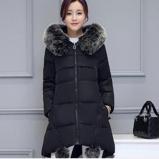 Chaqueta de invierno de Las nuevas Mujeres de Cuello de Piel Sintética Con Capucha de Down Parka Mujer Espesar Outwear Caliente más el tamaño de las Chaquetas Y Abrigos