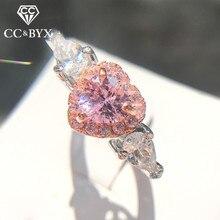 CC 925 серебряные кольца для женщин принцесса предложение Свадьба розовое сердце кубический цирконий Кольцо романтическое свадебное Bijoux CC917