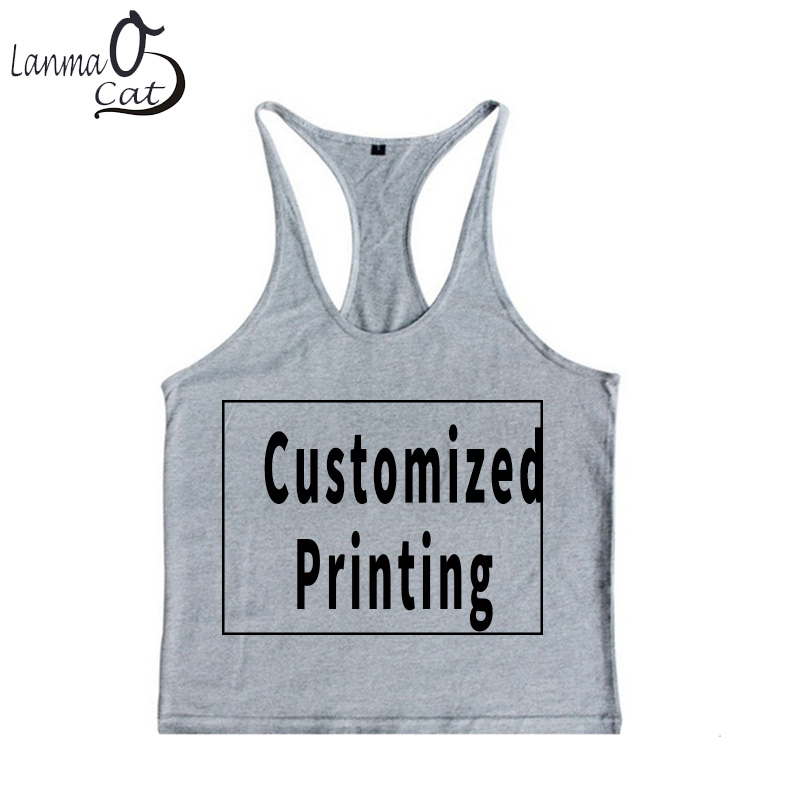 Lanmaocat Men Custom Print Summer Vest Print Fitness Muscle Vest   Tank     Tops   Bodybuilding Workout Vest Plus Size Free Shipping