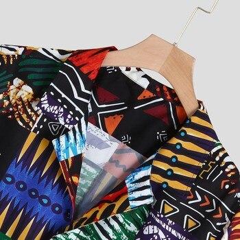 Womail New Arrival Vintage Cotton Men Shirt Short Sleeve Ethnic Style Print Tops 2019 Loose Hawaiian Shirts Men Streetwear 6