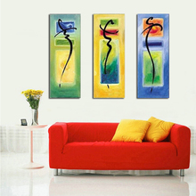 3 Panel Pictures Hand Painted Abstract Letters Oil Painting on Canvas Handmade colorful oil Modern Artwork home Decora