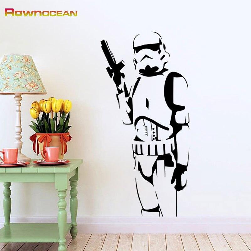 Star wars design stormtrooper adesivos de parede para crianças vinilos adesivos decorativos pared removível casa decorações mural S-03