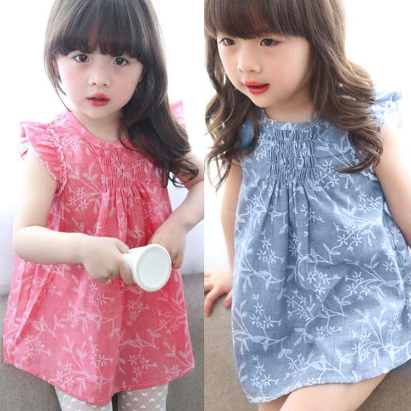 Kids Girls Dress Flower Summer Children Clothing Floral Princess Dresses for Girl Vestidos Blue Pink Fashion Clothes Beach Dress new girls summer dress kids clothes girls party dress children clothing pink princess flower girl dresses hot sale
