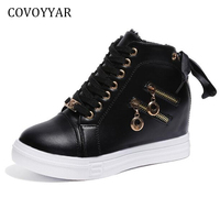 COVOYYAR Women Wedge Sneakers 2018 Winter Warm Side 2 Zippers Casual Shoes Lace Up Hidden Heel