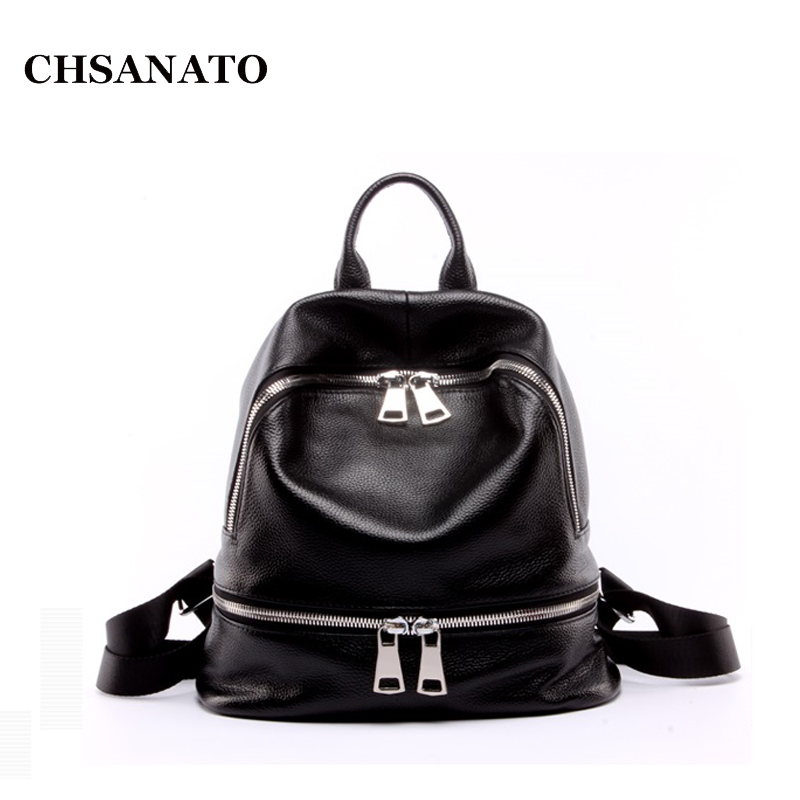 CHSANATO Fashion Soft Genuine Leather Backpack Women Bags Travel Backpack Girls School Bags Zipper Black Leather BackpacksCHSANATO Fashion Soft Genuine Leather Backpack Women Bags Travel Backpack Girls School Bags Zipper Black Leather Backpacks