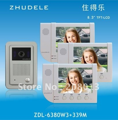 Promotion free shipping Hotsale Famous brand 8.3 inch High definition CCD camera video door phone 1+3