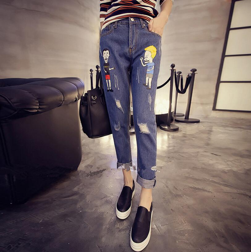 Korean Women Cartoon Personality Hole Denim Trousers Ladies Elastic pencil jeans Female Character Print Jeans S258