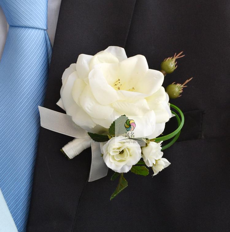 Wedding Boutonnieres White Pink Rose Groom Groomsman Pin Brooch Artificial Corsage Suit Decor Flower Accessories