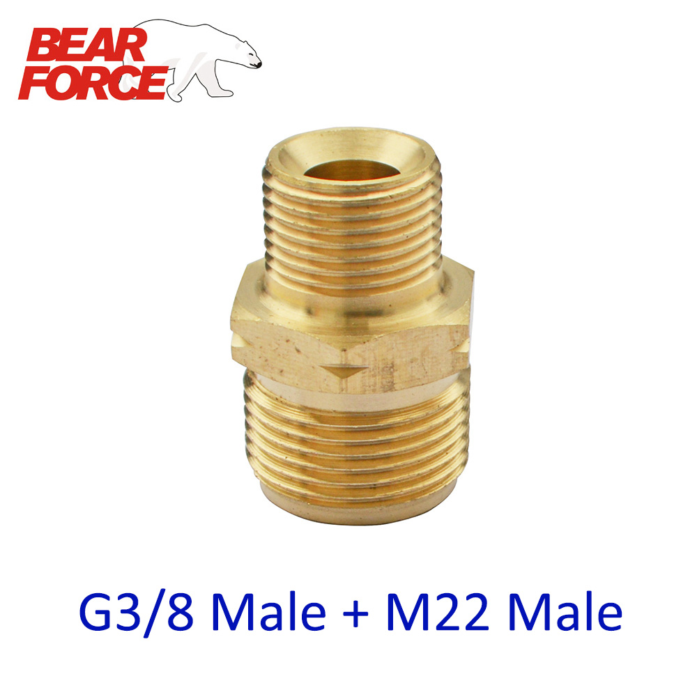 High Pressure Washer Car Washer Brass Connector Adapter  G3/8 Male + M22 Male