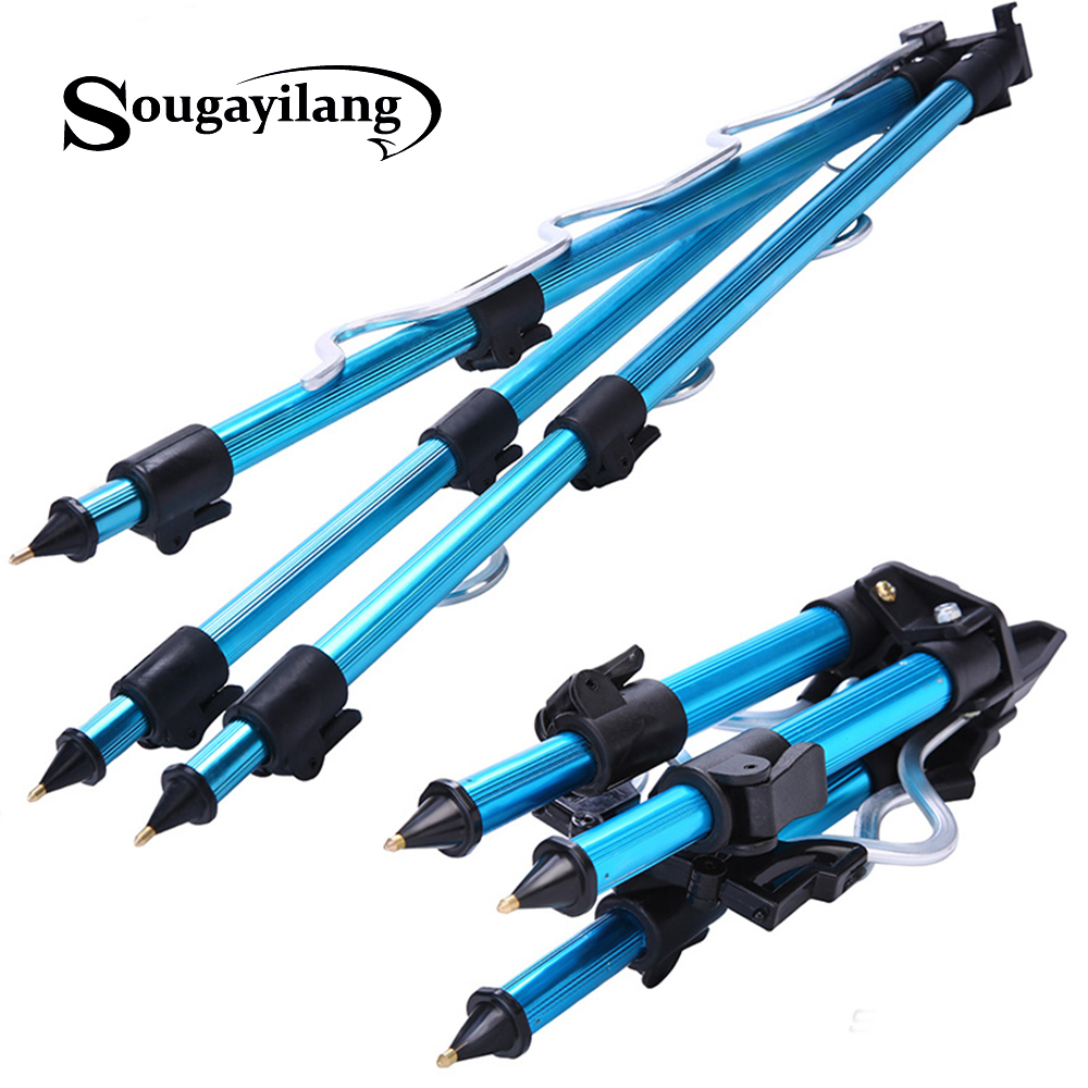 Sougayilang Tripod Bracket Blue /Red /Gun Black Telescopic Fishing Tripod Holder Night Fishing Light Bracket Fishing Rod Holder