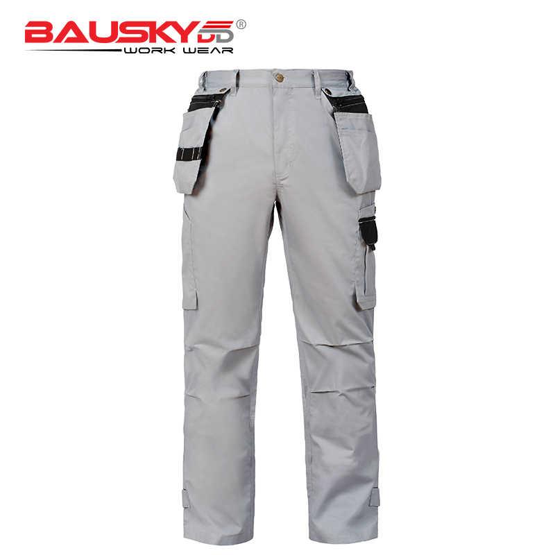 Bauskydd夏メンズ丈夫なワークパンツズボンで取り外し可能なポケットt/c 65/35ライト薄い生地
