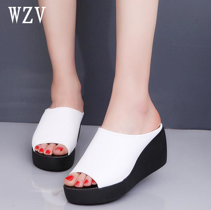 Hot Sale Women Summer Fashion Leisure shoes women platform wedges Fish Mouth Sandals Thick Bottom Slippers E022 anmairon shallow leisure striped sandals women flats shoes new big size34 43 pu free shipping fashion hot sale platform sandals