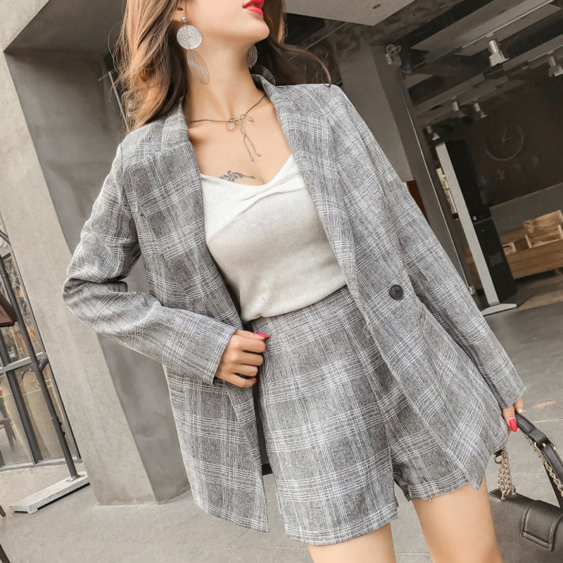 Vintage Gray Plaid Women Short Suits Full-sleeve Blazer Jacket & Hot Shorts Summer Casual 2 Pieces Female Pants Suits