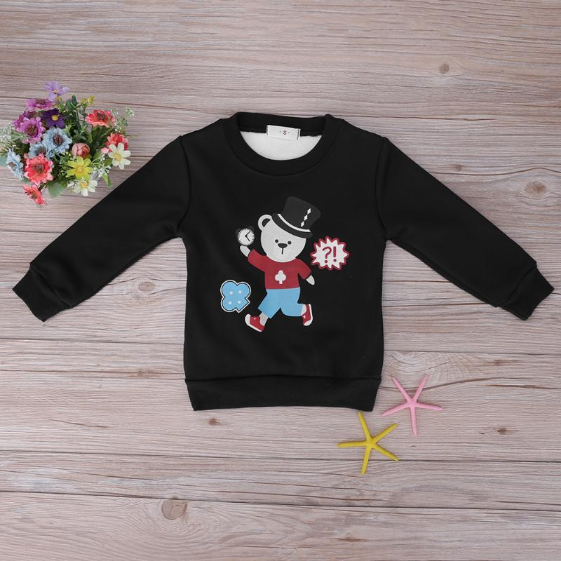 Cartoon Baby Boy Pullover Sweatshirt Fleece Thicken Bear-Alarm Clock Print Sweatershirts Leisure Winter Children Kids Clothes