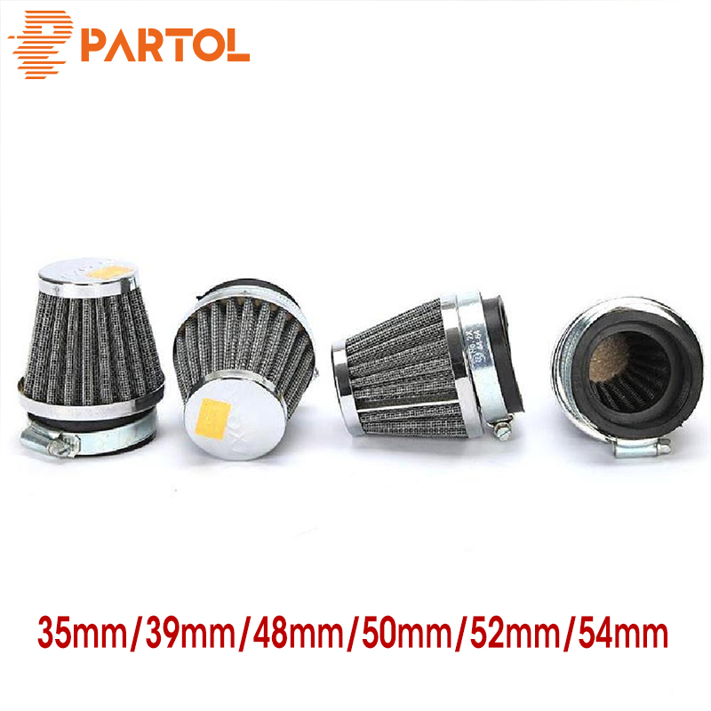 Partol 1pc 35mm 39mm 48mm 50mm 52mm 54mm Motorcycle Air Filter Motorbike Mushroom Head Cleaner Racing Clamp-on Universal Custom