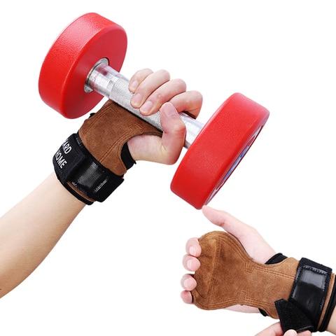Apoio para o Punho Luvas de Couro Luvas de Ginástica Palma Wearproof Gym Crossfit Halterofilismo Halteres Trainining Protetora 1 Par Mão