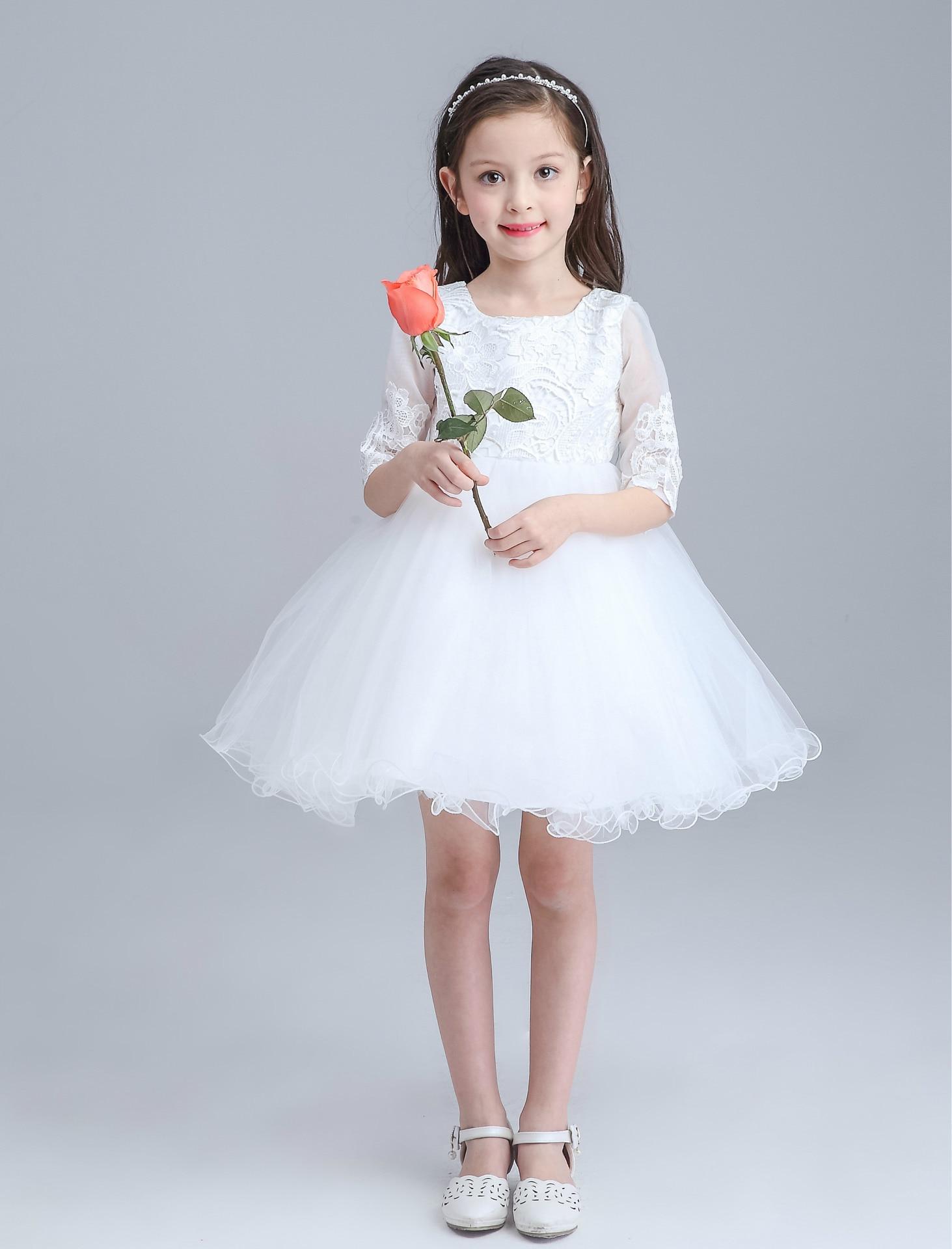 White Mini Formal Girl Dress Half Sleeve Christmas Girl Party ...