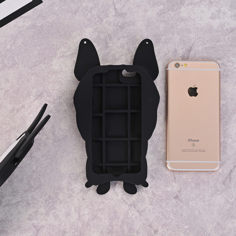3D Dog French Bulldog soft Silicon Case cover For iPhone 7 8 Plus 6 6s Plus XS MAX XR X with pearl chain Capa Funda in Fitted Cases from Cellphones Telecommunications