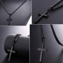 Cross Enamel Pendant Necklace Stainless Steel Black Gold Color For Men/Women Religious Christian Jewelry Christmas Gifts P581