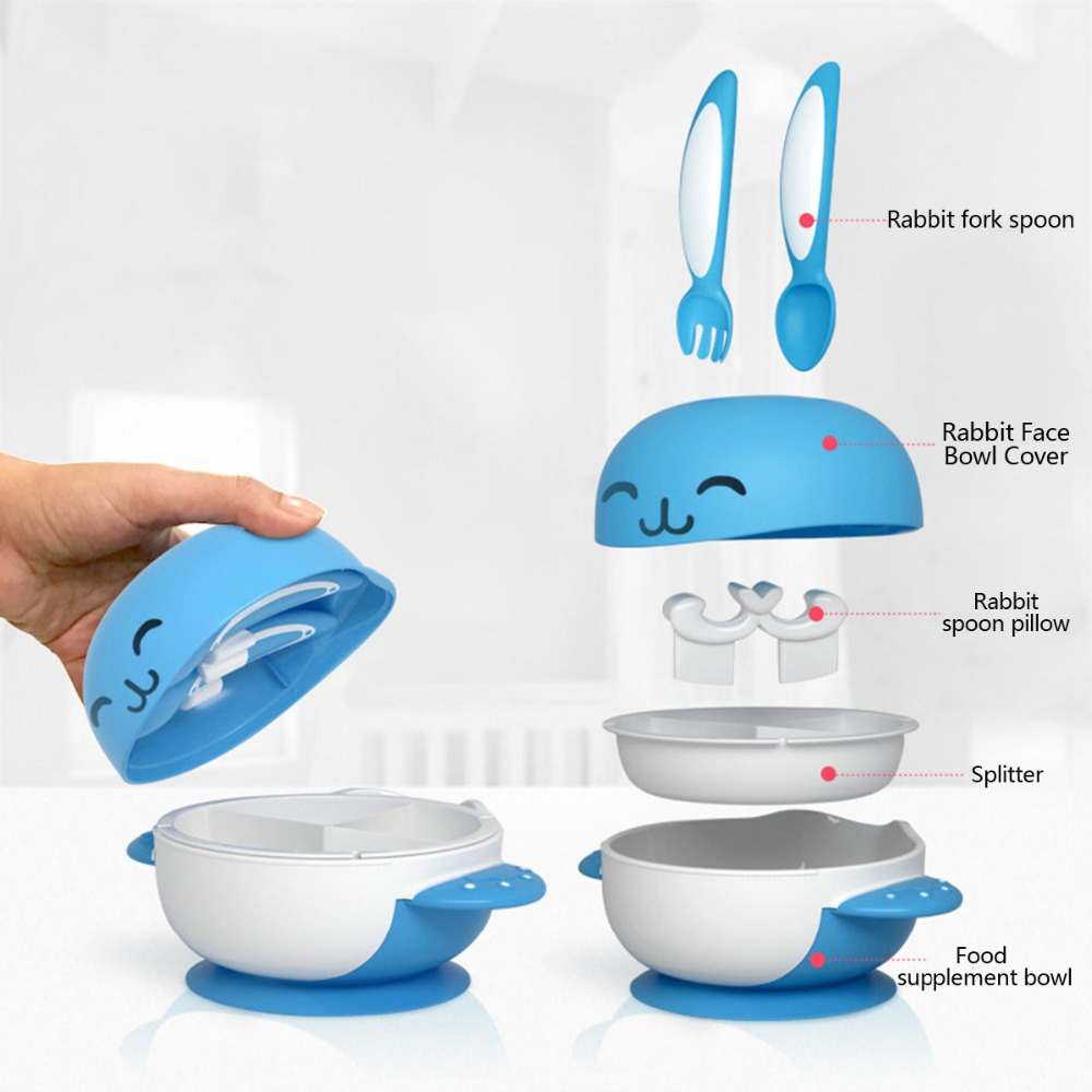 Bowls & Plates Self-Conscious Baby Learning Dishes Spoon Fork Bowl Set Suction Cup Tableware Eating Feeding
