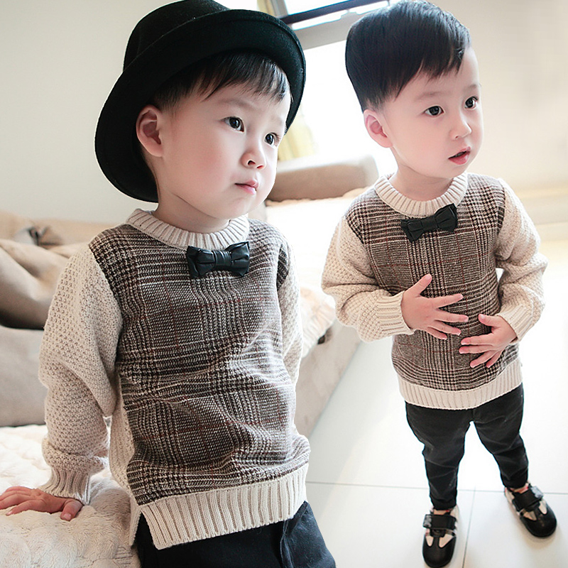 Boy Sweater 2017 Autumn Wool Knitted Pullover Cardigan For Baby Girls Children Clothes Kids Infant Top Bow tie sweater exaggerate bow tie neck ruffle trim top