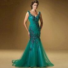 2017 heißer verkauf Mermaid Applique Perlen Emerald Green Mutter der Braut Kleid Open Back Formale Abendkleider 2016 Sleeveless