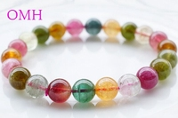 OMH wholesale 7.8 8.5mm Ice crack Crystal fully Colorful real Pure natural round top tourmaline beads bracelet PJ398 DHL free