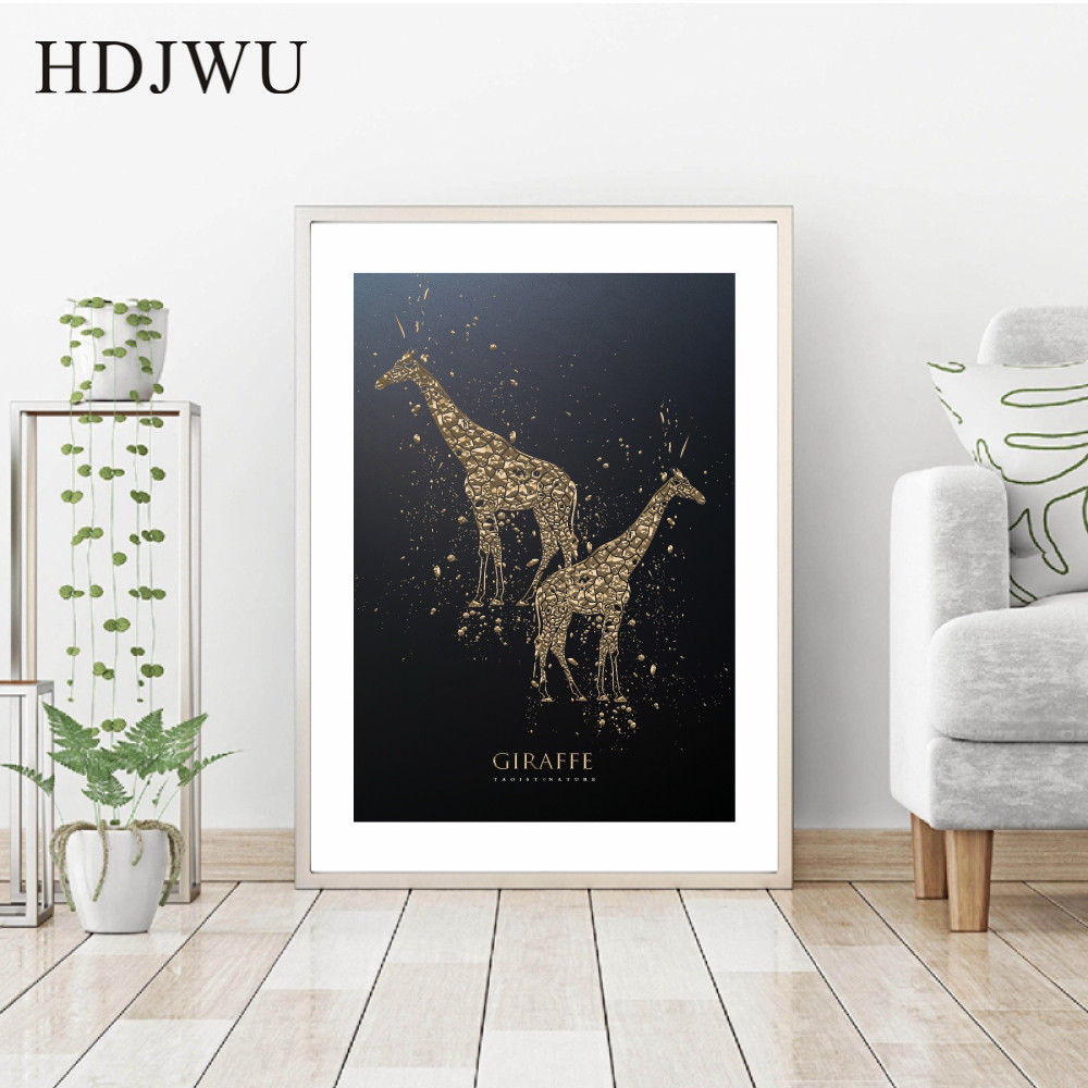 Nordic Creative Black Gold Carved Giraffe Animal Decoration Painting Wall Poster for Living Room Hotel DJ276 in Painting Calligraphy from Home Garden