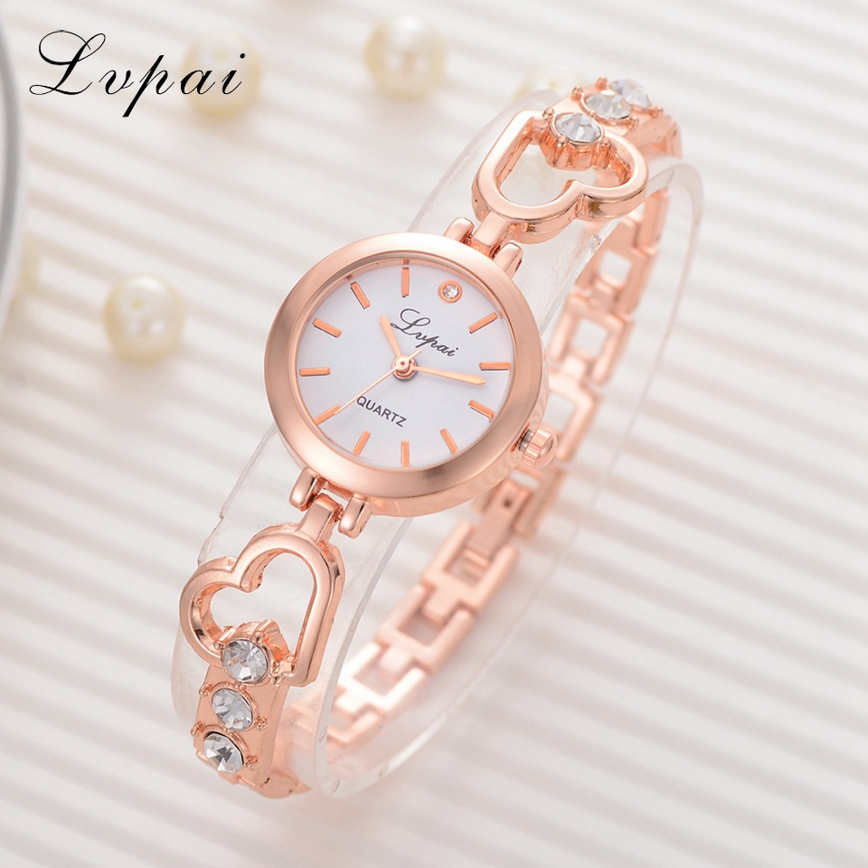 Lvpai Brand Fashion Casual Women Watches Alloy Rose Gold Ladies Women Bracelet Watch Love Rhinestone Creative Dress Quartz Watch