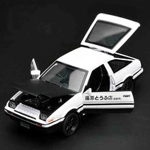 New for Toyota AE86 1:32 car model Anime Cartoon Fast & Furious alloy pull back sound light boy gift box simulation Tofu