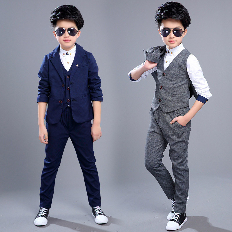 kids formal clothing sets for boys weddings prom suits coat+vest+ pants 3 piece wedding clothes for  boy classic costume 2017 new boys clothing set camouflage 3 9t boy sports suits kids clothes suit cotton boys tracksuit teenage costume long sleeve