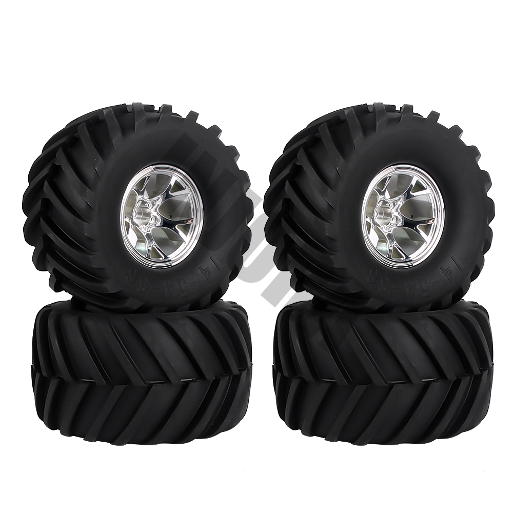 Image 3 - 4Pcs Wheel Rim Tire Set for 1/10 RC Monster Truck Traxxas HIMOTO HSP HPI Remote Control RC Truggy Car-in Parts & Accessories from Toys & Hobbies