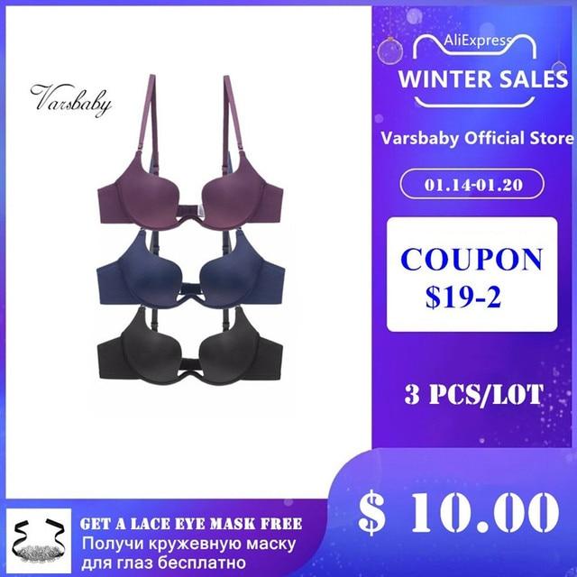 Varsbaby 3 PCS/Lot seamless deep V low-cut halter wedding sexy underwear gather invisible bra