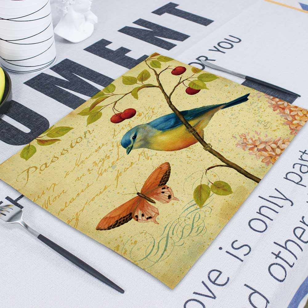 Oiseau Table serviette lin mariage Serviettes Table Mat Rectangle 100% lin Serviettes papier Serviettes tissu pour cuisine Table serviette