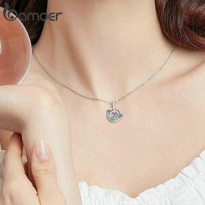Image 4 - BAMOER yüksek kalite 925 ayar gümüş gezegen ziyaretçi ve yuvarlak daire şekli zincir kolye kolye kadınlar lüks takı BSN041