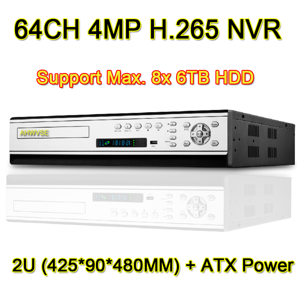 H.265 64CH 4MP NVR Network Video Recorder 64 Channel, Support 8pcs 6TB HDD and ATX Power Supply
