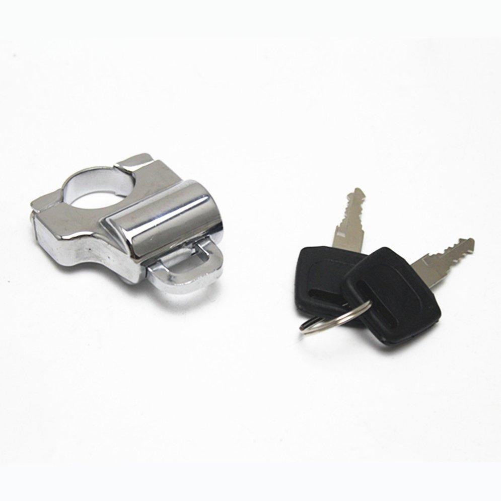 New Motorcycle Bike Helmet Lock Anti-theft Security Lock Hanging Hook With 2 Keys Universal For 22mm Tube Handlebar