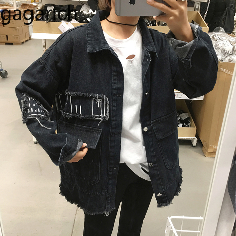 Gagarich Spring Women Jean Jacket 2019 Korean Fashion Loose Wear Denim Long-sleeved Casual Cool Coat белая рубашка с объемными рукавами и вырезом