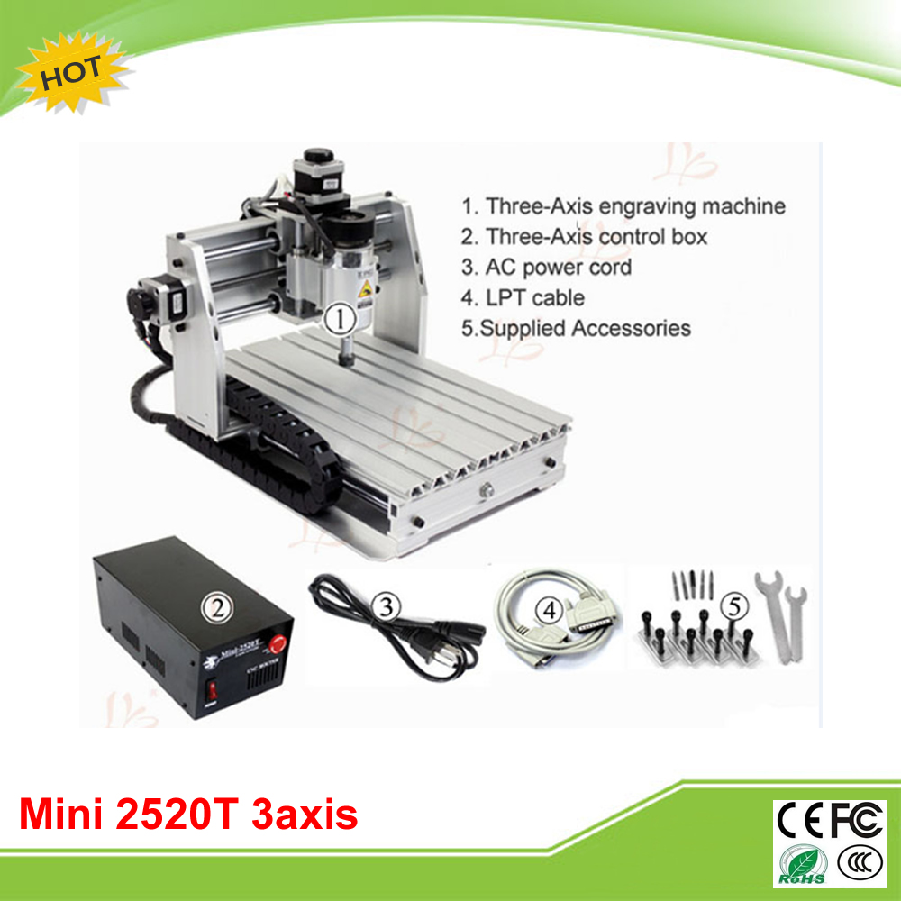 Mini CNC 2520T 3 axis mini CNC router for personal hobby free tax to EU cheap price mini cnc router 2520t 3 axis 200w spindle for new user or school tranining
