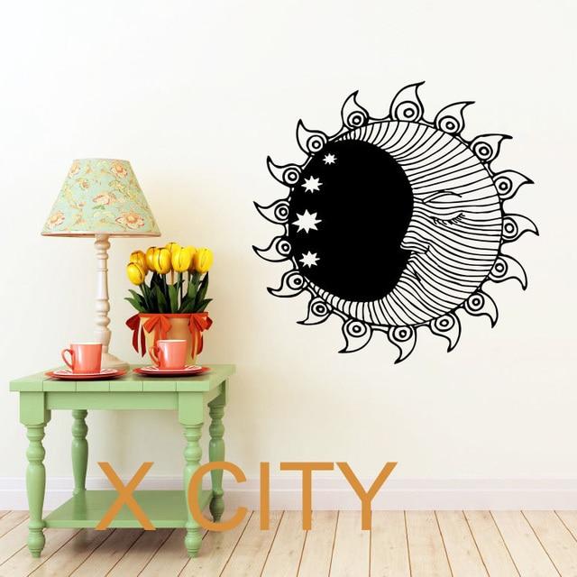 sun moon stars dual ethnic symbol decor wall art decal sticker