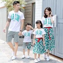 Платье с цветочным рисунком для мамы и дочки; Одинаковая одежда для семьи; одежда для мамы и папы; летний комплект для мальчиков и девочек; футболка с буквенным принтом и платье; костюм