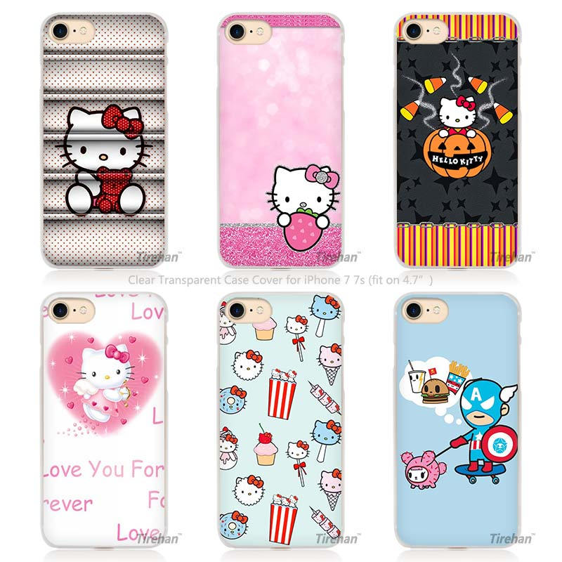 cute Hello kitty Hard Transparent Phone Case Cover Coque for Apple iPhone 4 4s 5 5s SE 5C 6 6s 7 Plus