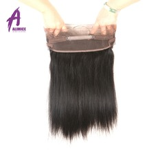 Alimice Hair Brazilian Straight Hair 360 Lace Frontal Closure 100% Human Hair 10-20inch Natural Color Non-remy Hair
